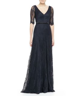Womens Lace Elbow Sleeve Gown   Theia