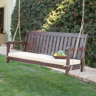 Coral Coast Cabos Java Brown Wood Porch Swing With Cushion   CAB 5PSWG