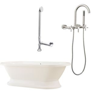 Giagni LC1 C BN Capri Tub with Plinth, Drain & Wall Mount Faucet with Hand Showe