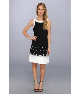 Jessica Howard Sleeveless Framed Embroidered Sheath Womens Dress (Black)