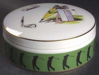 Vista Alegre Sport Golf Round Box with Lid, Fine China Dinnerware   Green Band,