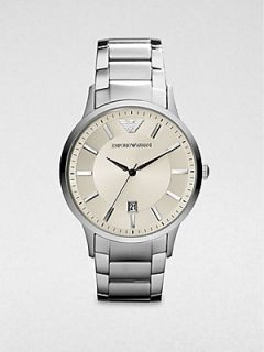 Emporio Armani Round Stainless Steel Watch   Silver