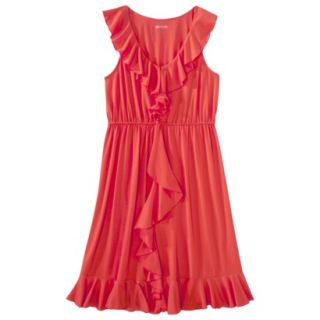 Merona Womens Cascade Ruffle Front Dress   Red Rave   S