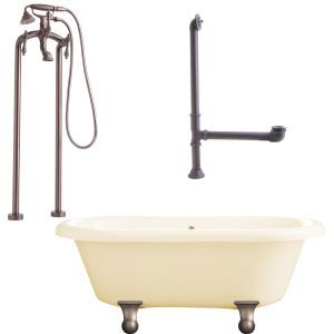 Giagni LP2 ORB B Portsmouth Cannonball Foot Dual Tub, Floor Mount Faucet with Ha