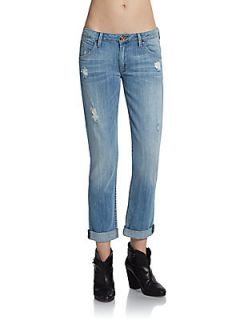Bacara Cropped Straight Leg Jeans   Carmen Distressed