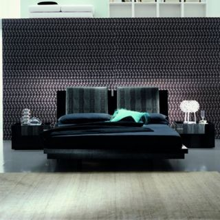 Black Diamond Leather Platform Bed   RST095 1, Queen