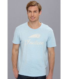 Lucky Brand Indian Bonnet Motorcycles Mens Short Sleeve Pullover (Blue)