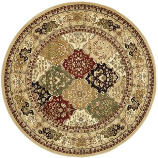 Lyndhurst Collection Multicolor/ Beige Rug (8 Round)