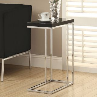 Monarch I 3018 Hollow Core Metal Accent Table   Glossy Black / Chrome   I 3018