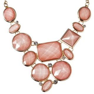 Womens Assorted Stone Plate Necklace   Pink