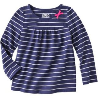 Circo Infant Toddler Girls Long sleeve Stripe Tee   Nightfall Blue 2T