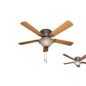 Ellington Fans ELF AC52ABZ5C1 Ascot 52 Hugger Ceiling Fan wTea stained Bowl lig
