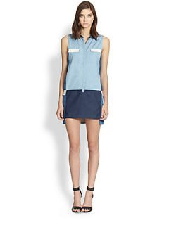 Line & Dot Colorblock Denim Shirtdress   Mix Denim