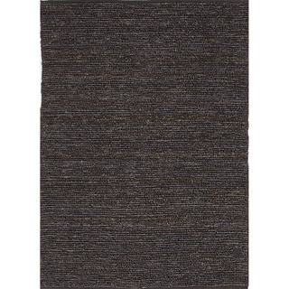 Hand woven Naturals Solid Pattern Gray/ Black Rug (5 X 8)