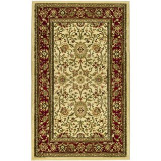 Lyndhurst Collection Majestic Ivory/ Red Rug (33 X 53) (IvoryMeasures 0.375 inch thickTip We recommend the use of a non skid pad to keep the rug in place on smooth surfaces.All rug sizes are approximate. Due to the difference of monitor colors, some rug