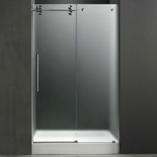 Vigo Industries VG6041STMT48LWM Shower Door, 48 Frameless 3/8 Left w/White Base Center Drain Frosted/Stainless Steel