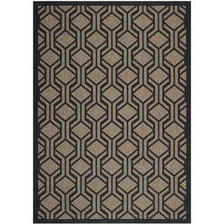 Safavieh Indoor/ Outdoor Courtyard Brown/ Black Rug (4 X 57)