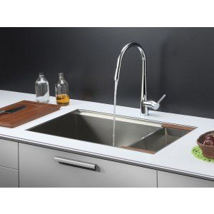 Ruvati RVC2372 Combo Stainless Steel Kitchen Sink and Chrome Faucet Set