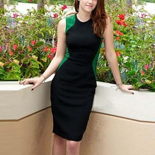 Womens Waisted Slim Stitching Dress
