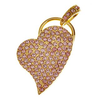 4G Plated Crystal Heart Shaped USB Flash Drive