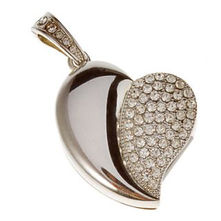 8G Crystal Heart Shaped USB Flash Drive