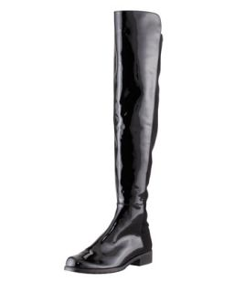 Womens 50/50 Patent Leather Knee High Boot, Black   Stuart Weitzman