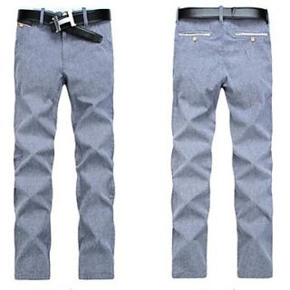 Mens Cotton Long Pants Solid Color Korean Pants