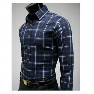 Uyuk Mens Hit Color Korean Style Stand Collar Long Sleeve Check Pattern Casual Cotton Shirt