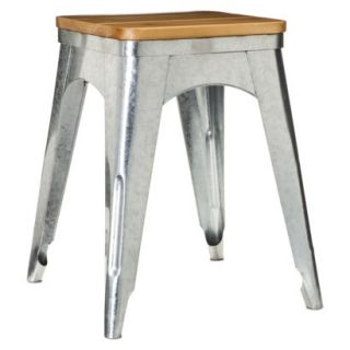 Accent Stool Threshold Galvanized Accent Stool   Silver