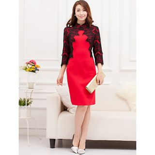 Womens Elegant Slim Fit Dress(Red)