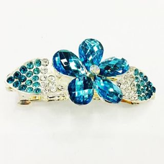 Fashion Blue Bling Shinning Diamond Flower Bow knot for Women Hairpin Jewelry Accessories