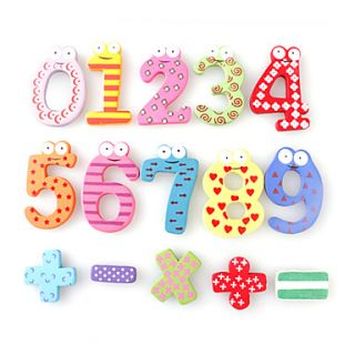 Funny Math Symbol Wooden Fridge Magnets Educational Toy (12 Pack)