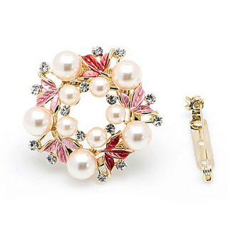 Beautiful Alloy With Rhinestones / Pearls Brooch