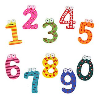 Cartoon Numbers Style Mini Wooden Fridge Magnet (10 Pack)