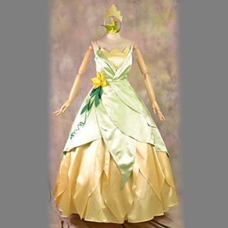 The Princess and the Frog Tiana Green and White Dress Halloween Costume(2 Pieces)
