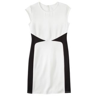 Mossimo Womens Colorblock Scuba Dress   White/Black S