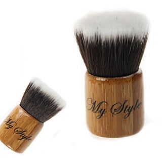 High Quality Synthetic Hair Bamboo Handle Mini Makeup Flat Blusher/ Powder Kabuki Brush