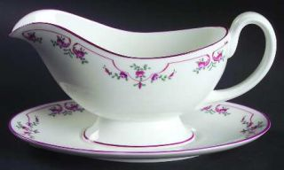 Royal Worcester Petite Fleur (Pink, Smooth) Gravy Boat & Underplate, Fine China