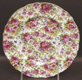 Royal Winton Summertime (Pre 1960,Cream Bck,Gold Tr) Salad Plate, Fine China Din