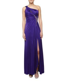 One Shoulder Open Back Beaded Gown, Majestic Purple