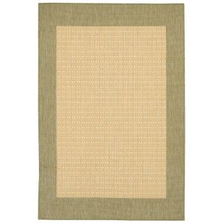 Couristan Recife Checkered Field Indoor/Outdoor Area Rug   Natural/Green