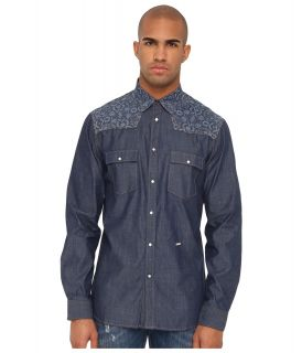 Just Cavalli Slim Fit Shirt Mens Long Sleeve Button Up (Blue)