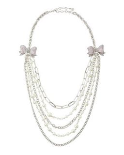 Tiered Crystal Bow Necklace, Pink