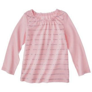 Cherokee Infant Toddler Girls Long sleeve Foil Stripe Tee   Pink 4T