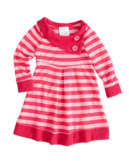 Striped Slub Knit Dress, Pink, 4 6X