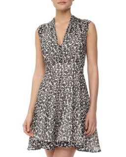 Feline Wonder Leopard Print Dress, Black/Daisy White