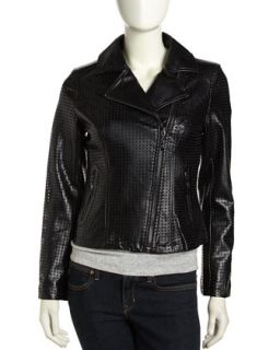 Asymmetric Perforated Faux Leather Moto Jacket, Black