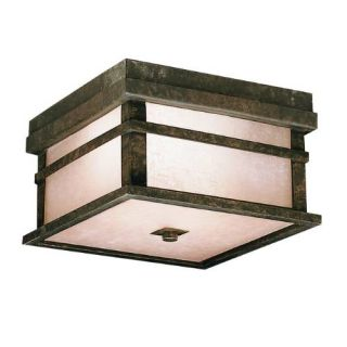 Kichler 9830AGZ Outdoor Light, Arts and Crafts/Mission Flush Mount 2 Light Fixture Aged Bronze