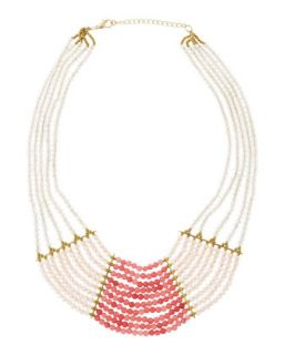 Tiered Ombre Crystal Beaded Necklace, Pink