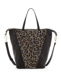 Abbey Leopard Print Calf Hair Satchel Bag, Black